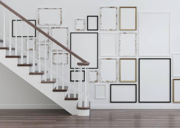 innenraum mit treppen und frames. 3d-rendering. - bild wandtreppe stock-fotos und bilder