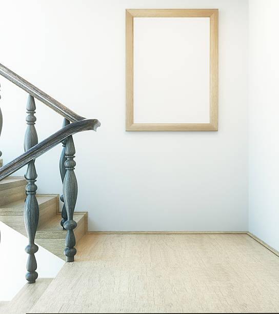 interior with stairs and picture frame - bild wandtreppe stock-fotos und bilder