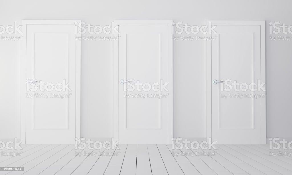 Interior with three white closed doors stock photo