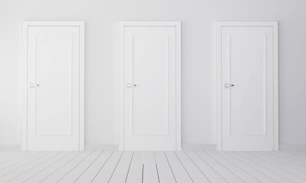 interior with three white closed doors - three objects stock pictures, royalty-free photos & images
