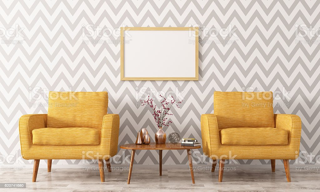 Interior with two armchairs and coffee table 3d rendering royalty-free stock photo