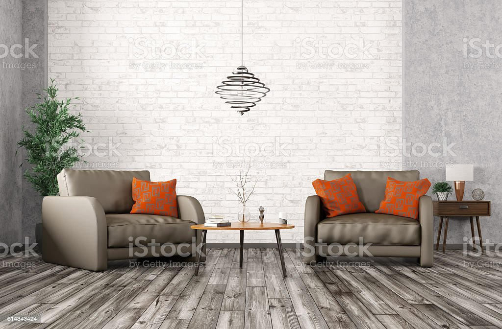 Interior with two armchairs, coffee table 3d rendering