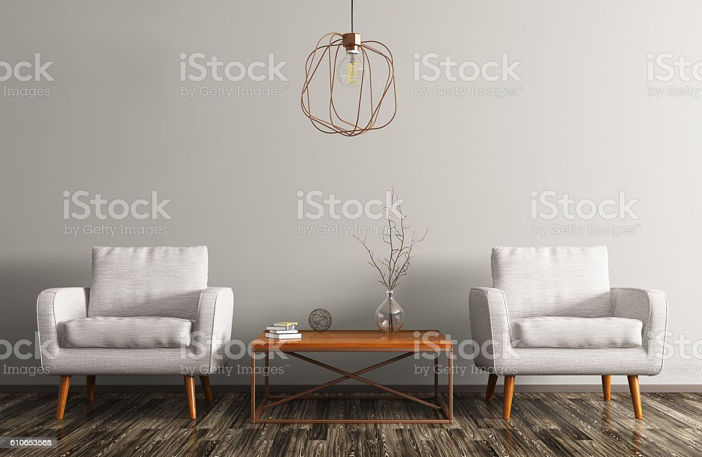 Interior with two armchairs, coffee table and lamp 3d rendering