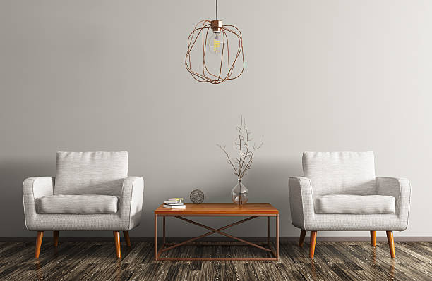 interior with two armchairs, coffee table and lamp 3d rendering - couchtisch metall stock-fotos und bilder