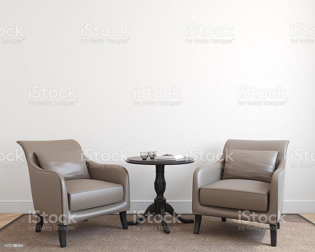 Interior con dos sillones. - foto de stock