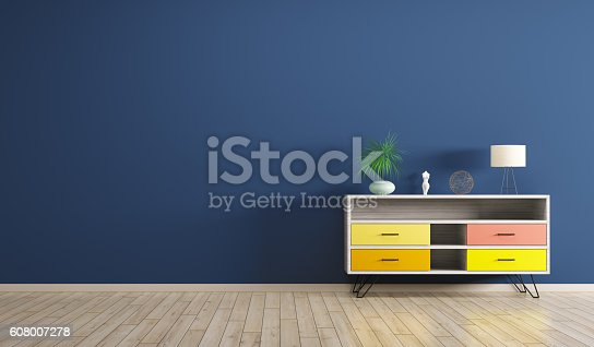 istock Interior with wooden cabinet 3d rendering 608007278