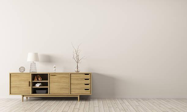 interior do armário de madeira 3d com desenho - sideboard imagens e fotografias de stock