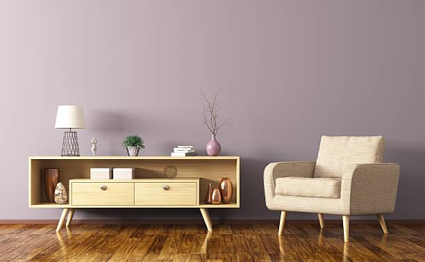 interior with wooden cabinet and armchair 3d rendering - sideboard skandinavisch stock-fotos und bilder