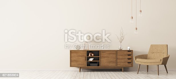 istock Interior with wooden cabinet and armchair 3d rendering 621853924