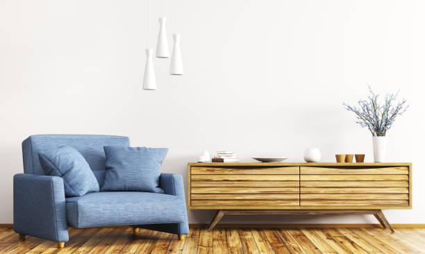 interieur mit holzgehäuse und sessel 3d-rendering - sideboard skandinavisch stock-fotos und bilder