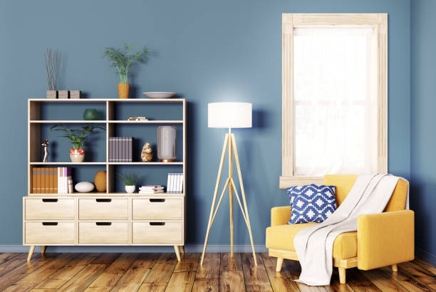 interieur mit holzgehäuse und sessel 3d-rendering - anrichte weiß stock-fotos und bilder