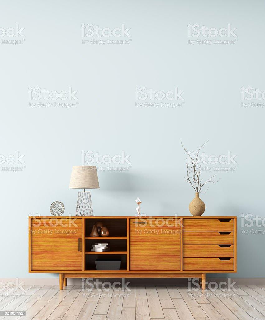 Interior with wooden dresser 3d rendering stock photo