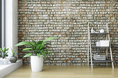istock Interior with Wooden Shelf and Green Plants 1220682805