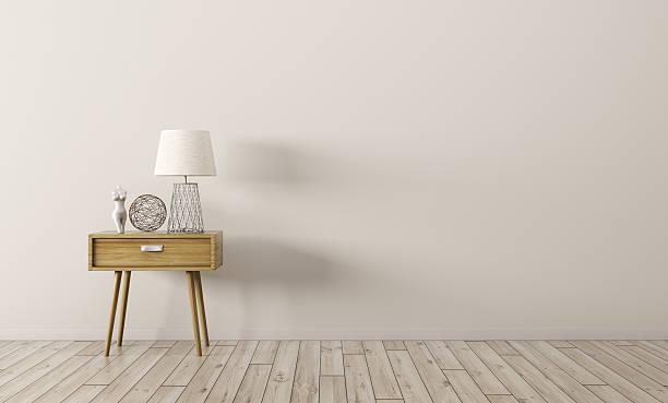 intérieur avec tableau en bois rendu 3d - lampe électrique photos et images de collection