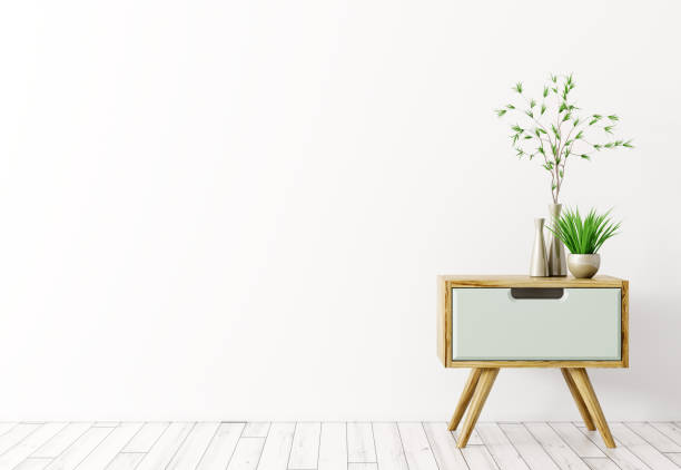 Interior with wooden side table 3d render stock photo