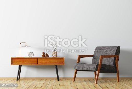 istock Interior with wooden side table and armchair 3d rendering 610241454