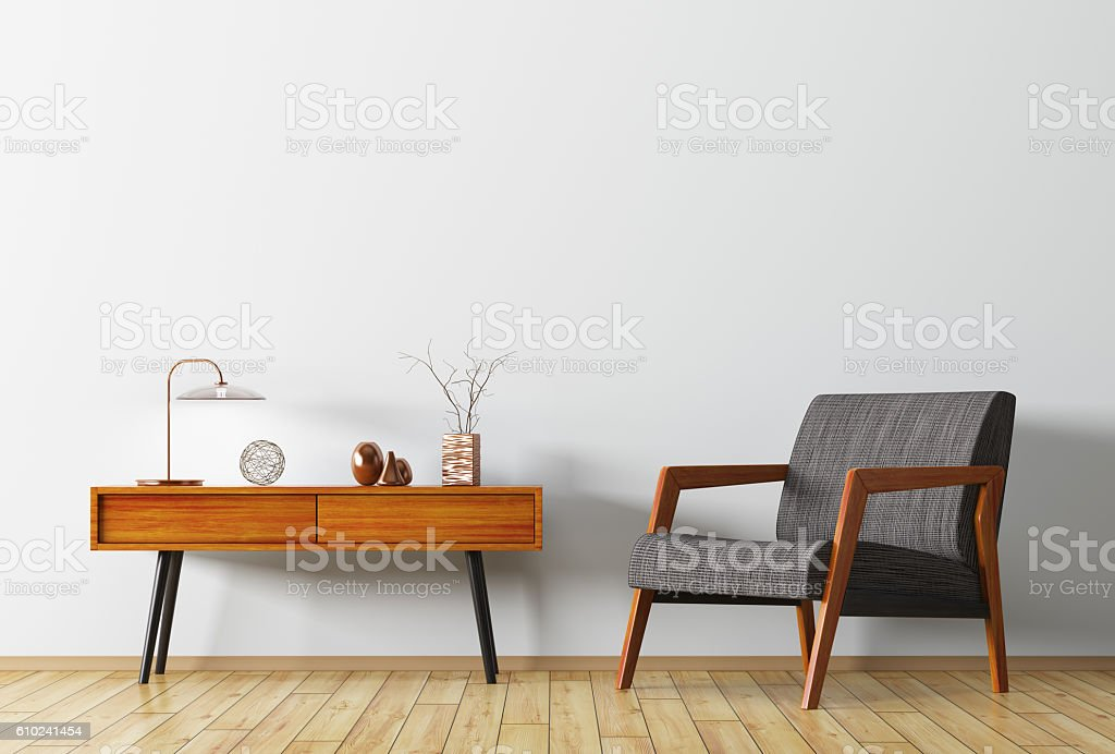 Interior with wooden side table and armchair 3d rendering - foto de stock