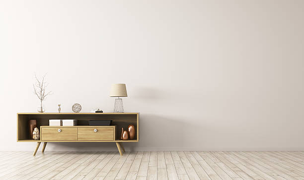 interior with wooden sideboard 3d rendering - sideboard skandinavisch stock-fotos und bilder