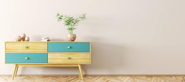interior with wooden sideboard 3d rendering - sideboard imagens e fotografias de stock
