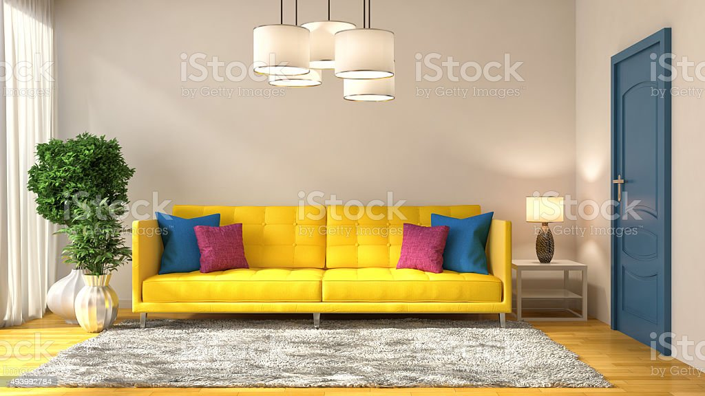 interior with yellow sofa. 3d illustration stock photo