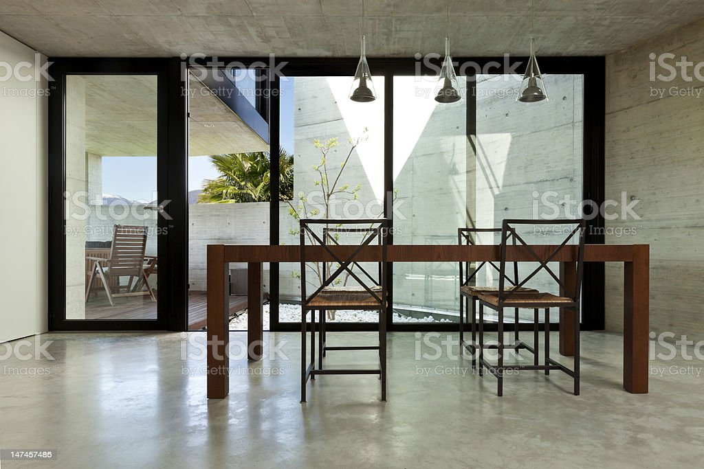 interior, wooden dining table stock photo