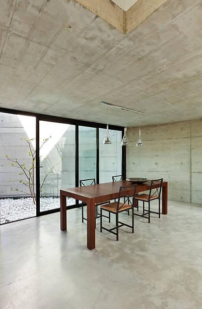 innen, esstisch - zement terrasse stock-fotos und bilder