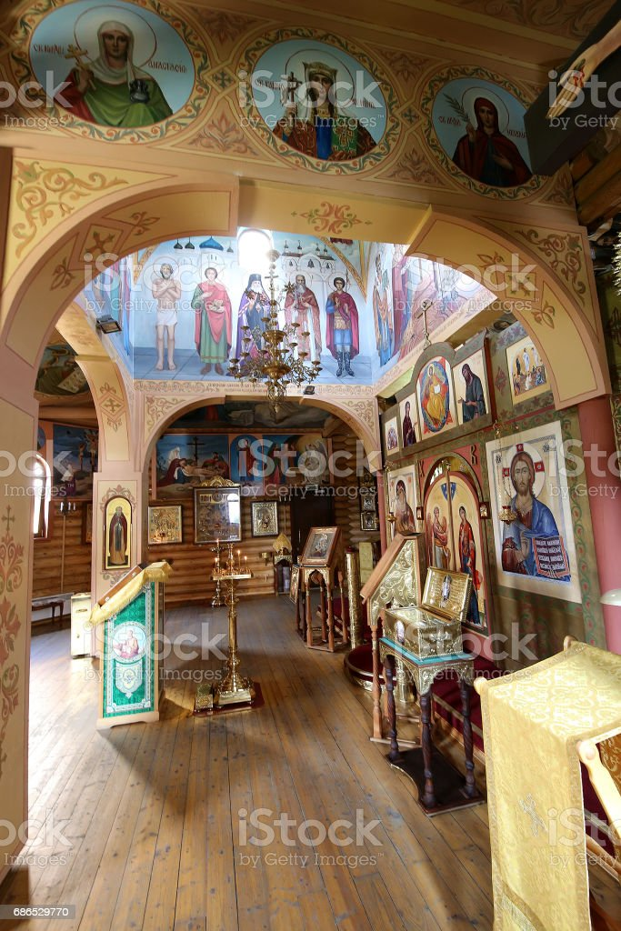 Interior Wooden Orthodox church in Moscow, Russia photo libre de droits
