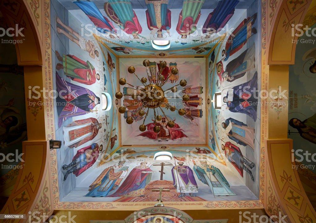 Interior Wooden Orthodox church in Moscow, Russia royaltyfri bildbanksbilder