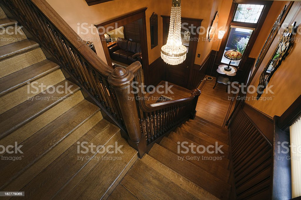 Interior Wooden Staircase, Foyer of Restored, Renovated Victorian Style Home stock photo