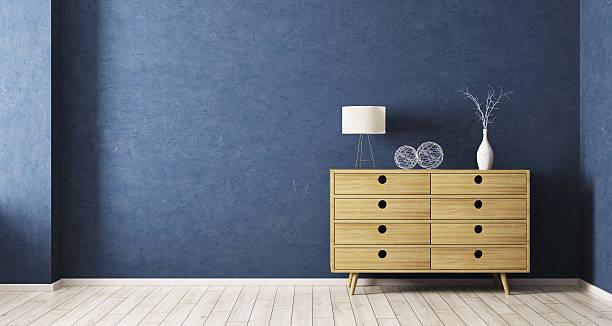 interiorof room with wooden cabinet 3d rendering - wohnzimmermöbel holz stock-fotos und bilder