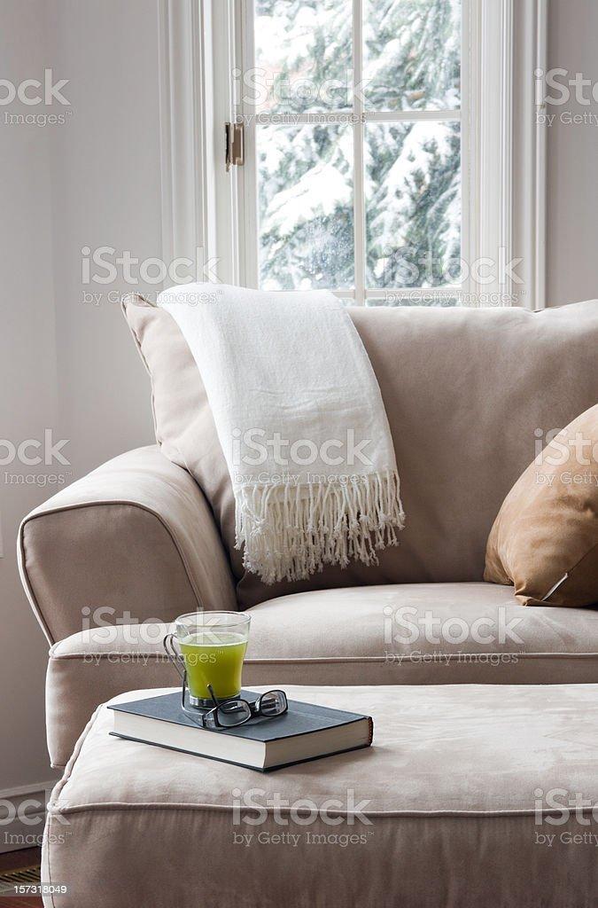 Interiors: Cozy winter chair stock photo
