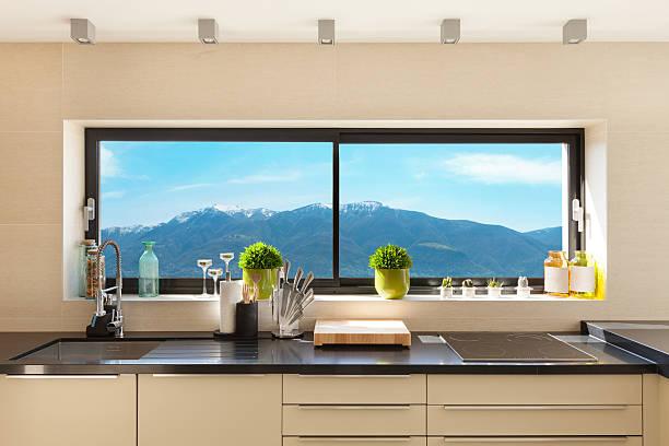Interiores, cozinha moderna - foto de acervo