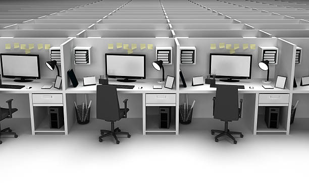 interiors of an office - mülltonnenhäuschen stock-fotos und bilder