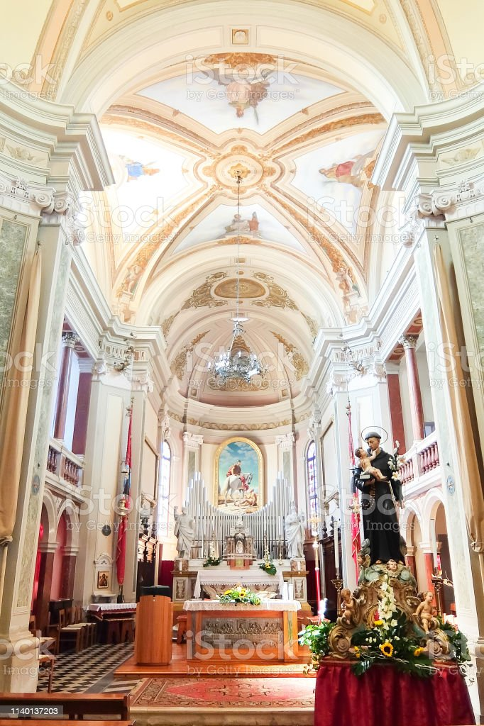 Interiors Of Catholic Church In Cussignacco Stock Photo Download Image Now Istock