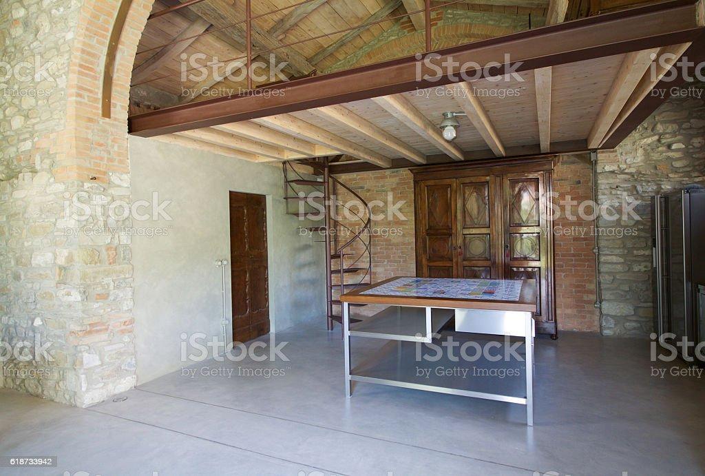 interiors of loft in emilia romagna, kitchen stock photo