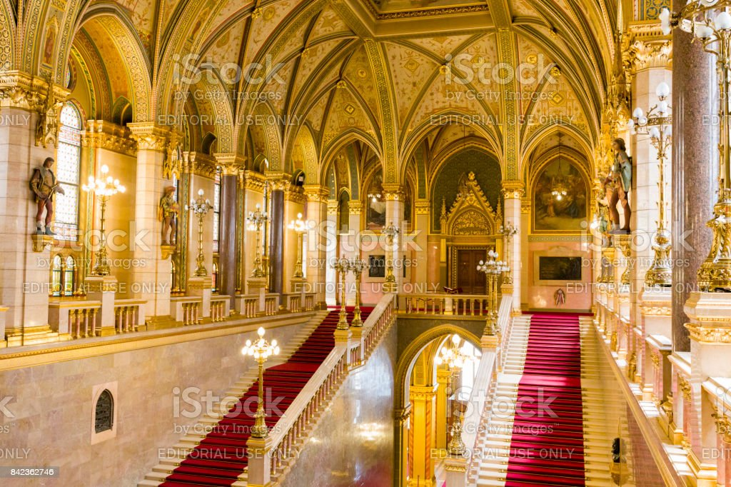 Interiour of the Hungarian parliament building in Budapest stock photo