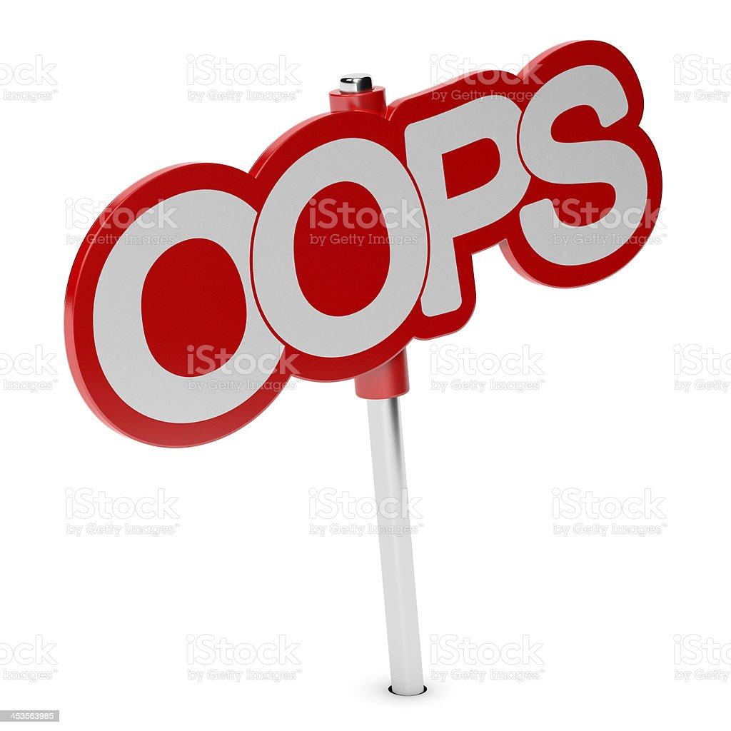Interjection, OOPS tag stock photo
