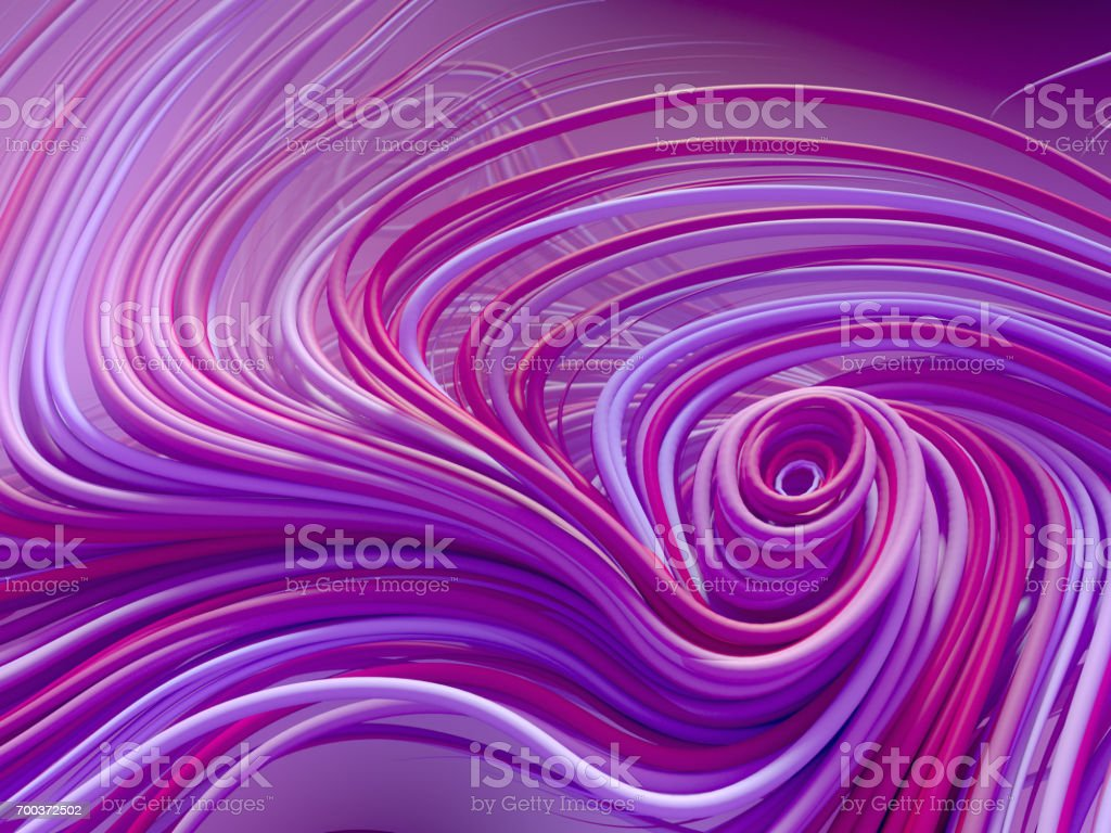 Interlacing abstract blue and pink curves. 3D rendering stock photo