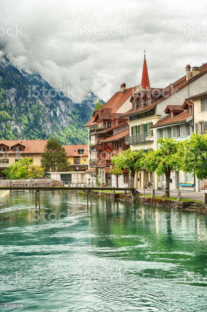 Interlaken and Aare River stock photo