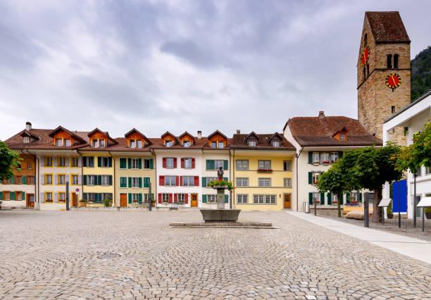 Interlaken. Old Kirchhasser square. stock photo
