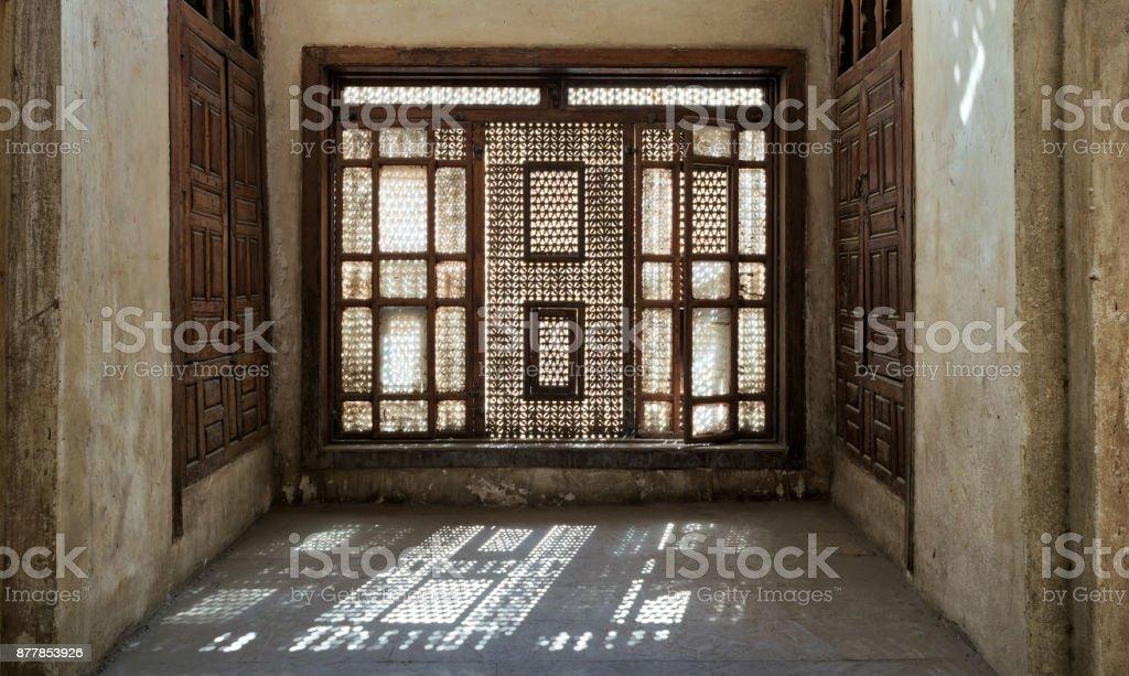 Interleaved wooden window (Mashrabiya) stock photo