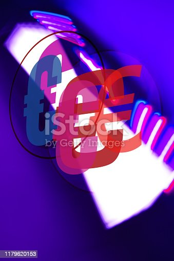 Interlinked Euro Currency Symbols on abstract coloured background.