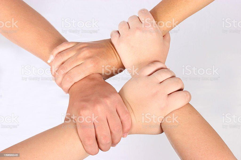 Interlocked hands royalty-free stock photo