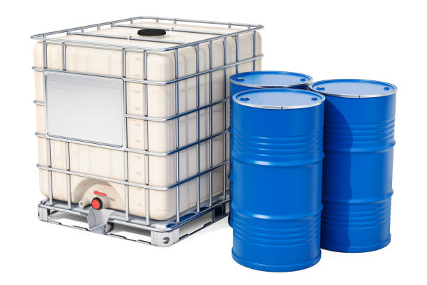 Intermediate bulk container with metallic barrels, 3D rendering isolated on white background stock photo