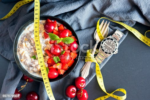 Symbolic pictures about intermittent fasting with a measuring tape and a clock/wristwatch and a breakfast porridge bowl