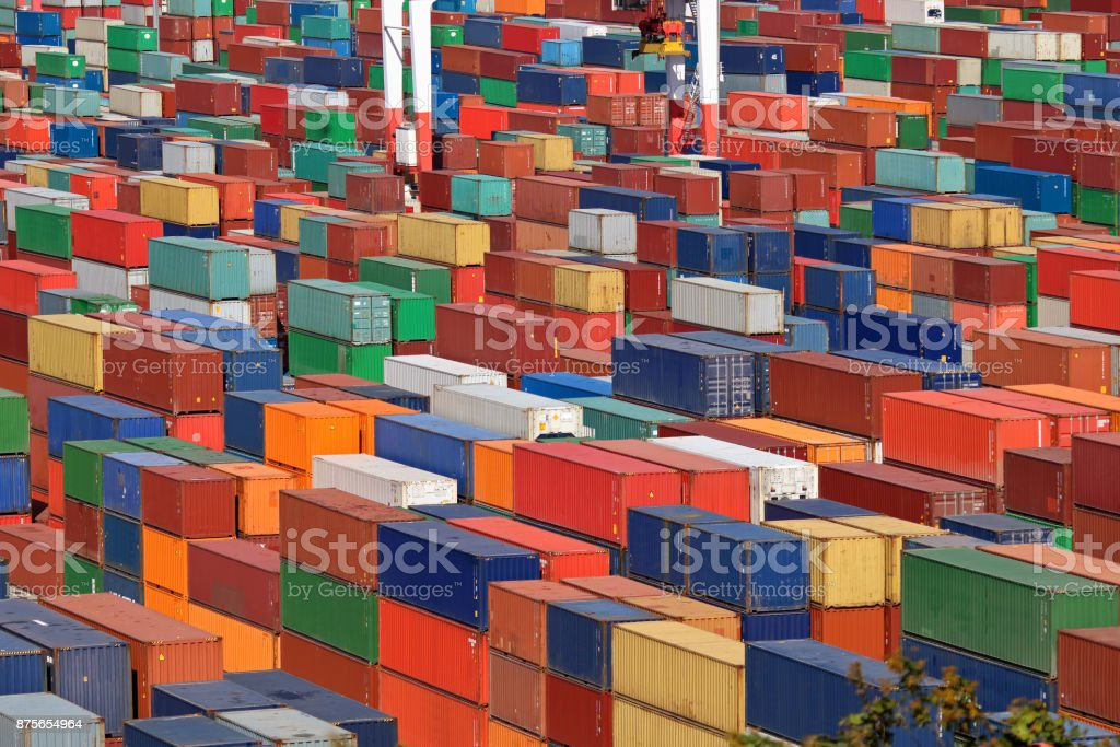 Intermodal containers stock photo