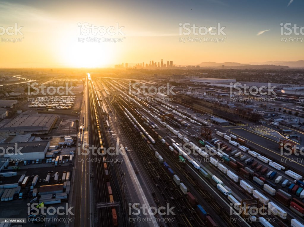 Intermodal Freight Yard in Vernon, CA at Sunset - Aerial View stock photo