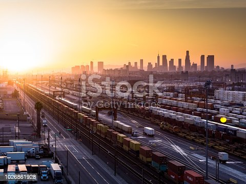 istock Intermodal Freight Yard with Los Angeles Skyline at Sunset 1026861928
