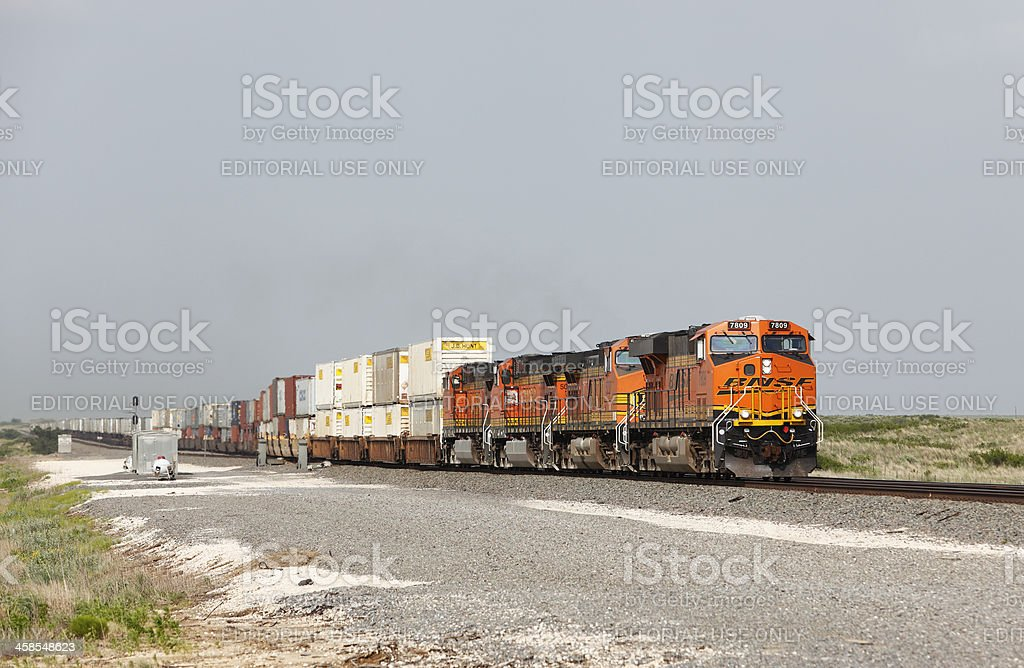 BNSF intermodal train racing across Oklahoma royalty-free stock photo