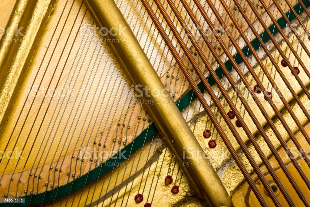 Internal arrangement of pianos, Theme of musical instruments. Background stock photo
